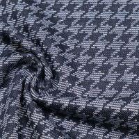 Stretch Baumwoll- Feinstrick Hahnentritt - jeansblau/hellblau