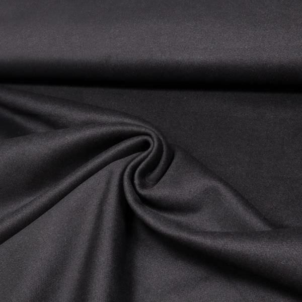 Kaschmir- Wollstoff Melange - schwarz