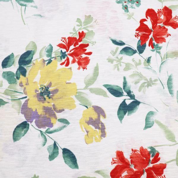Slub Jersey Baumwolljersey zarte Blumen - wollweiss/rot/hellgelb/flieder