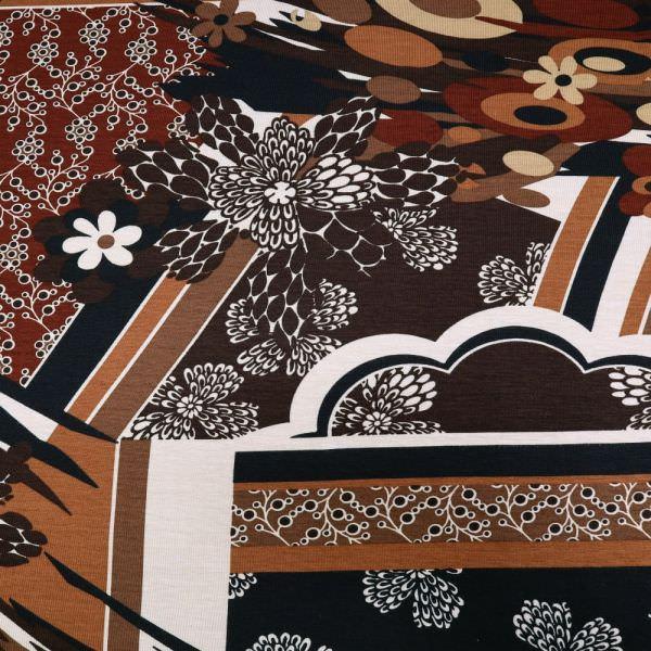 Viskosejersey Blumen & Retro-Motiv - wollweiss/beige/rehbraun/braun/schwarz