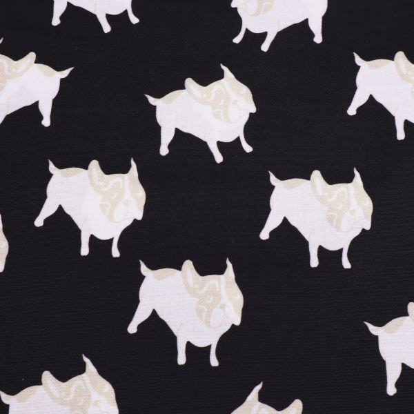 Stretch Baumwollstoff Mops Hunde - schwarz/weiss/beige