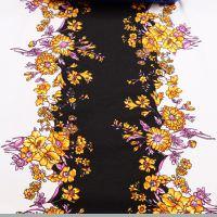 Baumwolljersey mit Blumenbordüren - wollweiss/gelb/orange/rosé/fuchsia/schwarz (2.Wahl)