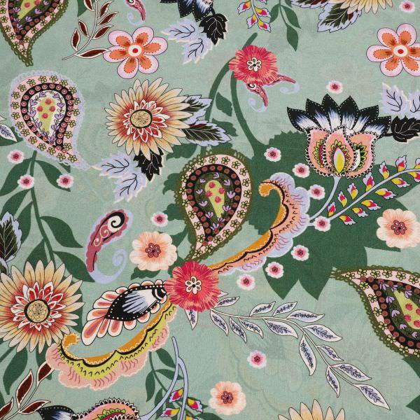 Seiden- Crêpe mit floralem Paisley-Motiv - mintgrün/hellblau/orange/grün