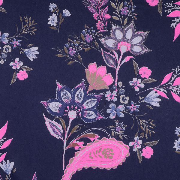 "Baumwoll- Voilé ""Paisley&Blumen-Motiv"" - dunkelblau/pink/taubenblau/braun"