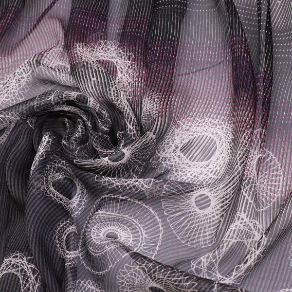 Reine Seide Crêpe Chiffon Mandala PANEL - schwarz/violett/weiss