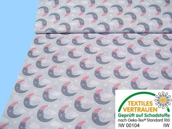 Baumwollstoff mit Mond- Motiv - hellgrau/rosé/grau/weiss/schwarz
