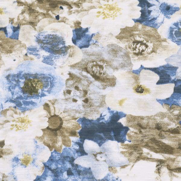 Baumwolljersey Blumen - wollweiss/beige/jeansblau/braun Extra breit !