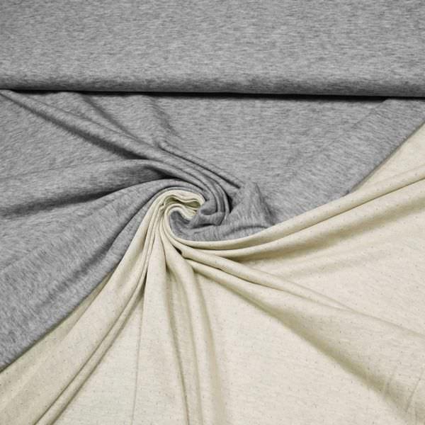 Doubleface Viskosejersey Melange & Uni - grau/beige