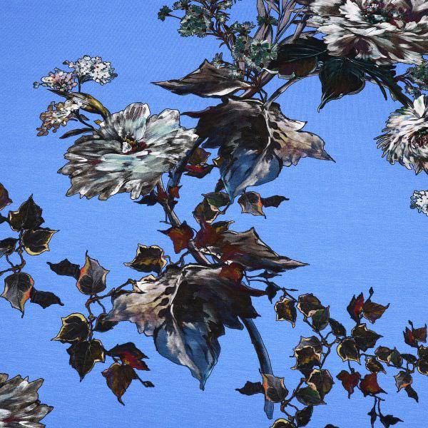 Digitaldruck Viskosejersey Aquarell Blumen - blau/petrol/rostbraun/dunkelgrün/grau (2.Wahl)