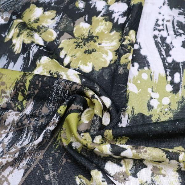 Weichtüll (Mesh) Blumen & Farbkleckse - weiss/kiwi/braun