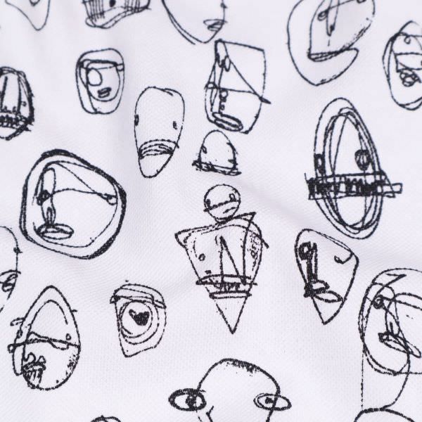 """Piqué Jersey """"Abstrakte Art"""" - weiss/schwarz"""