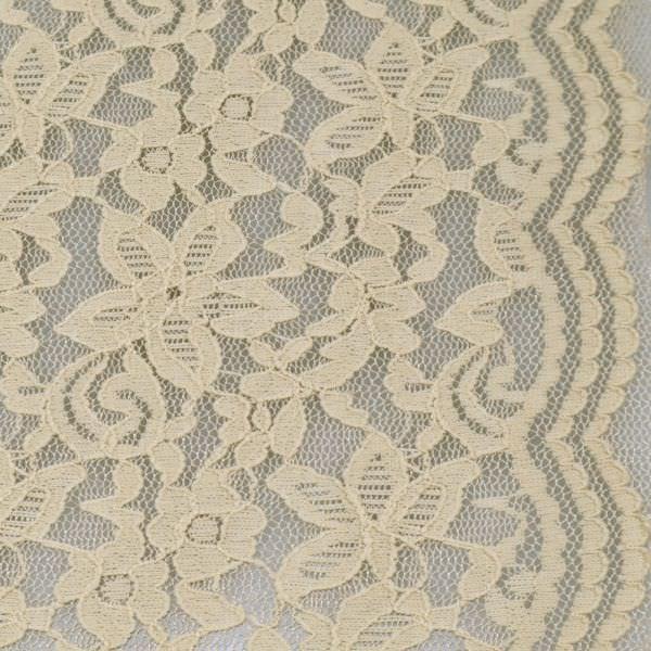 Stretch Tüll-Spitze mit Blumen-Motiv & Bogenkanten - beige