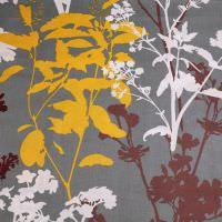 Dekostoff Baumwollstoff Herbstblumen & Blätter - grau/weiss/gelb/bordeaux Öko-Tex Standard 100