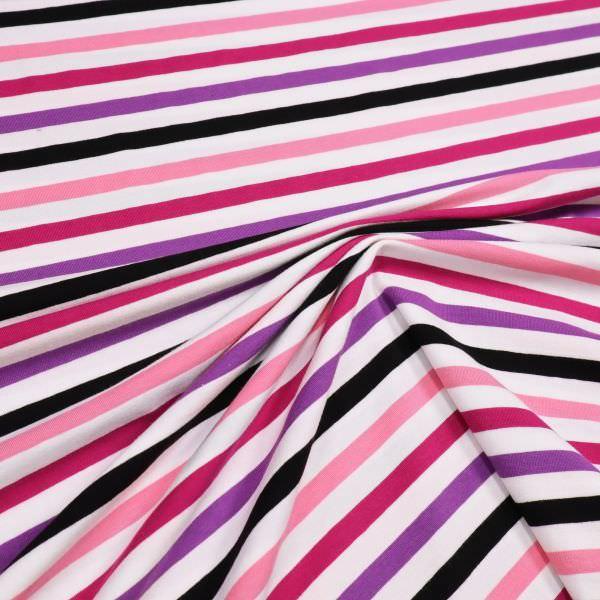 Baumwolljersey mit Querstreifen - weiss/fuchsia/rosé/violett/schwarz Extra breit !