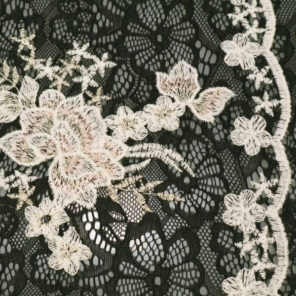 Bogen Spitze mit Lurex & Blumen-Motiv - schwarz/wollweiss/rosé/gold
