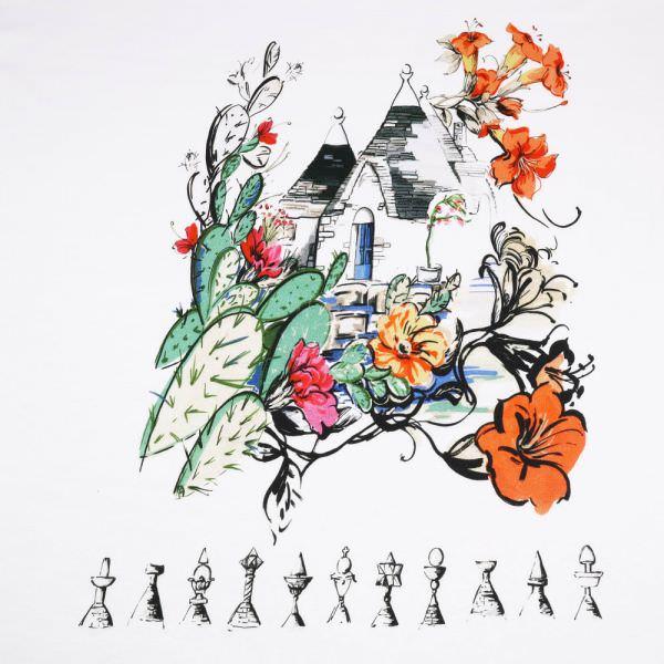 PANEL Baumwolljersey La Casa - wollweiss/multicolor