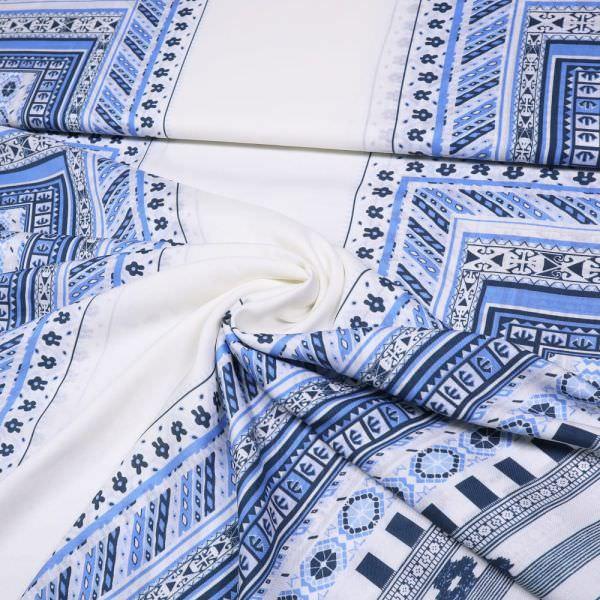 Viskosestoff mit Ethno-Muster - weiss/hellblau/blau/marineblau