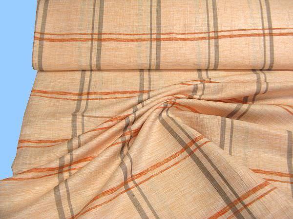 Blusen und Kleiderstoff mit Karos lachs/orange/grau