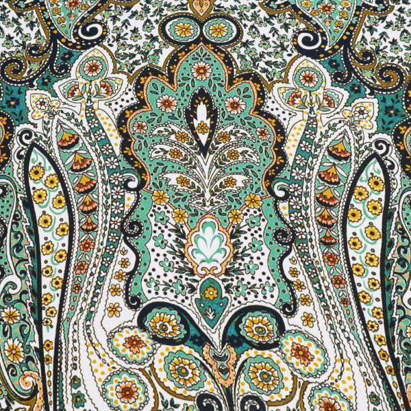 Viskose Crêpe Orientalisches Muster - weiss/grün/petrol/senfgelb/schwarz