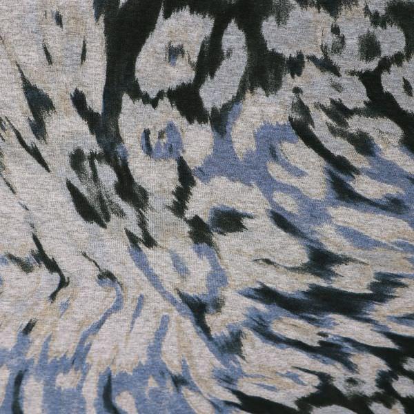 Viskosejersey Fantasie Blumen - grau/blau/hellbraun/schwarz