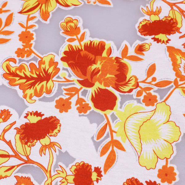 Ausbrenner Jersey Hibiskusblüte mit Glitzereffekt - weiss/orange/gelb/rot/silber