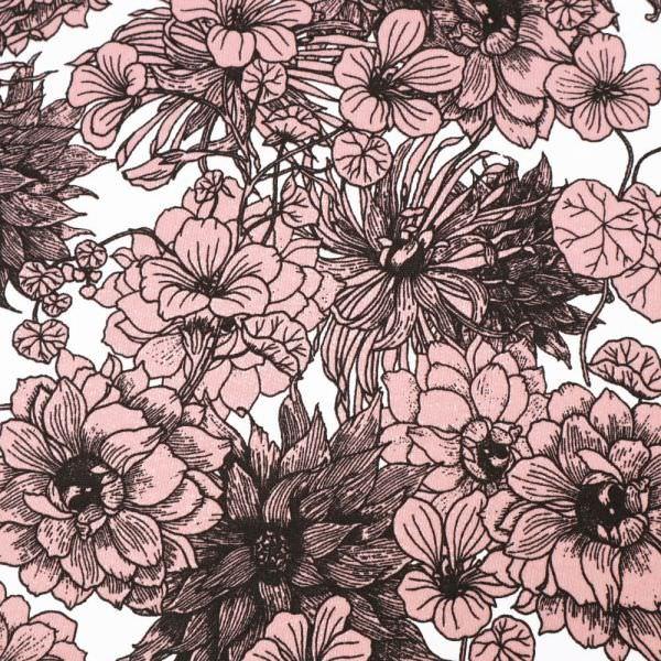 """Sweatshirt Stoff """"Blumen"""" - weiss/altrosa/schwarz (Extra breit !! )"""