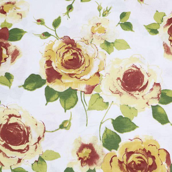Baumwolljersey große Blumen - wollweiss/hellgelb/senfgelb/weinrot
