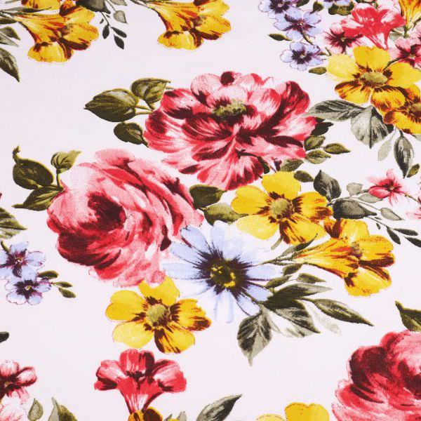 Stretch Sweatshirt Stoff mit Blumen-Motiv - weiss/rot/gelb/hellblau/dunkelgrün Extra breit !