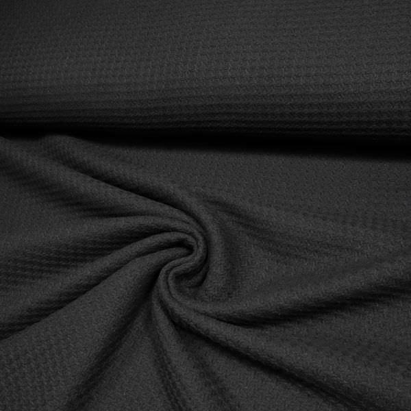 Jackenstoff Waffelpiqué uni - schwarz