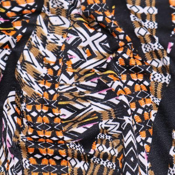 Crepé Jersey mit Retro-Motiv - schwarz/orange/braun/weiss