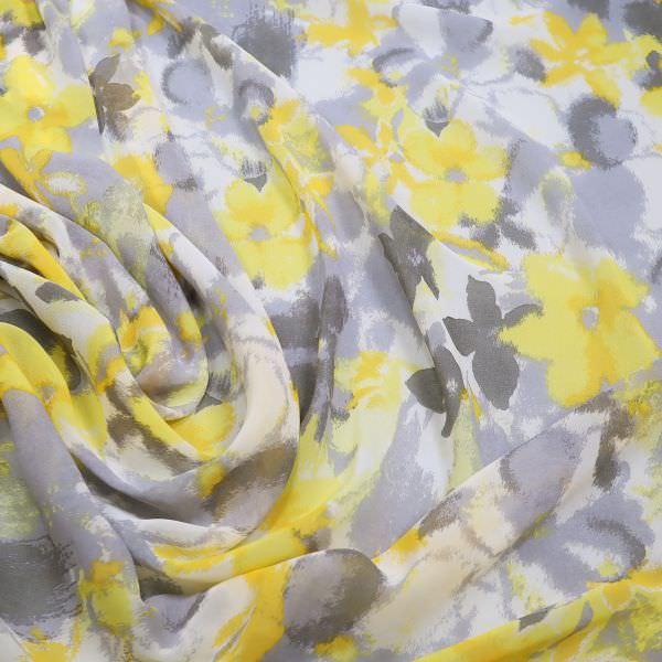Chiffon Aquarell Blumen - wollweiss/grau/gelb
