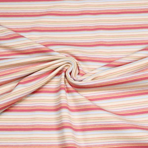 Baumwolljersey mit Querstreifen - beige/pink/hellblau/orange/senfgelb