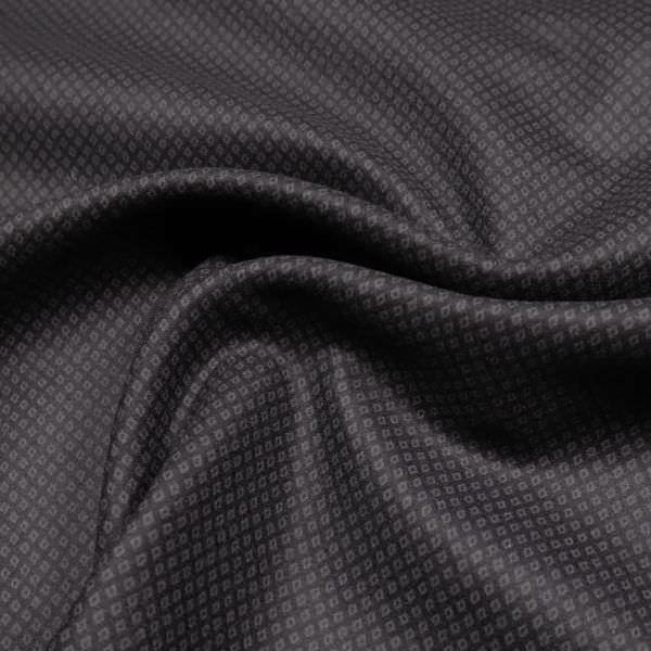 Wollstoff-Mix mit feinem Rauten-Muster - schwarz/grau