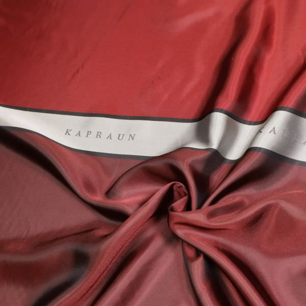 Viskose Jacquard Futterstoff Logo-Muster & Changierend - rot/dunkelrot/grau/schwarz