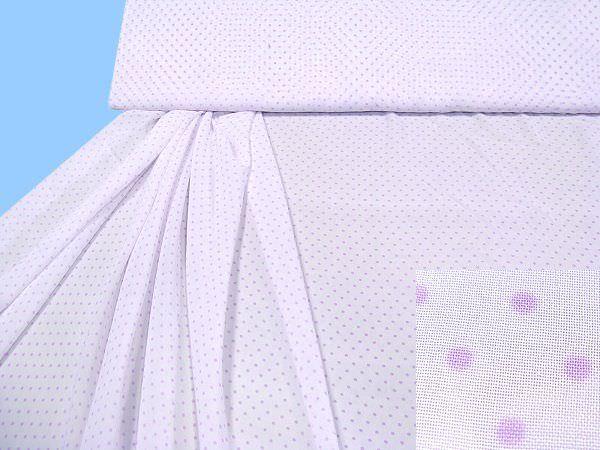 Blusen- und Kleiderstoff mit Punkten - weiss/flieder