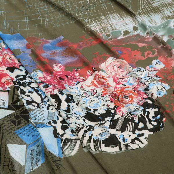 Feinstrick-Jersey Rosen - khakiki/wollweiss/fuchsia/rot/blau