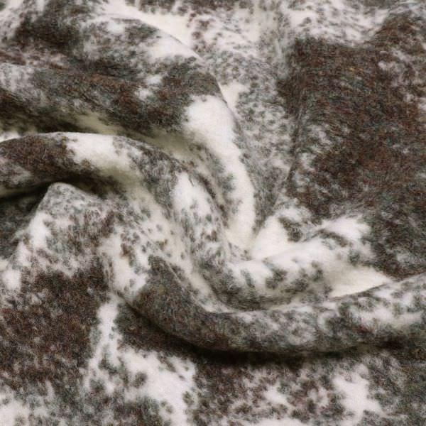 Kochwolle Wollstrick Marmoriert - wollweiss/weinrot/braun/grau (Reststück 1,7m)