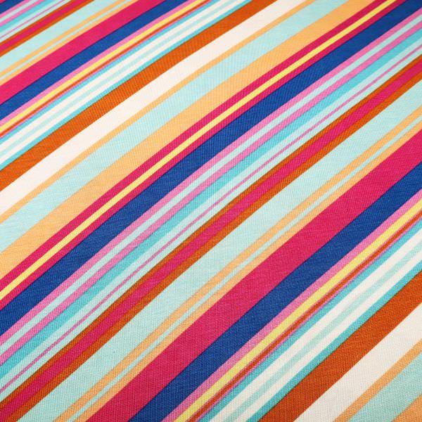 Viskosejersey mit Diagonalstreifen - wollweiss/lachs/mint/fuchsia