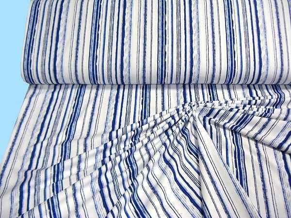 Feinjersey mit Streifen - weiss/blau