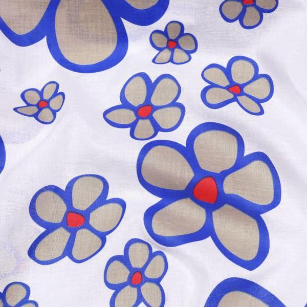 "Baumwollstoff ""Blumen"" - wollweiss/royalblau/rot/taupe"