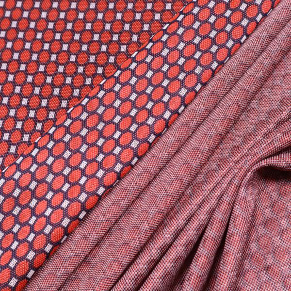 Viskose- Stretch Feinstrick rote Kreise - rot/weiss/nachtblau