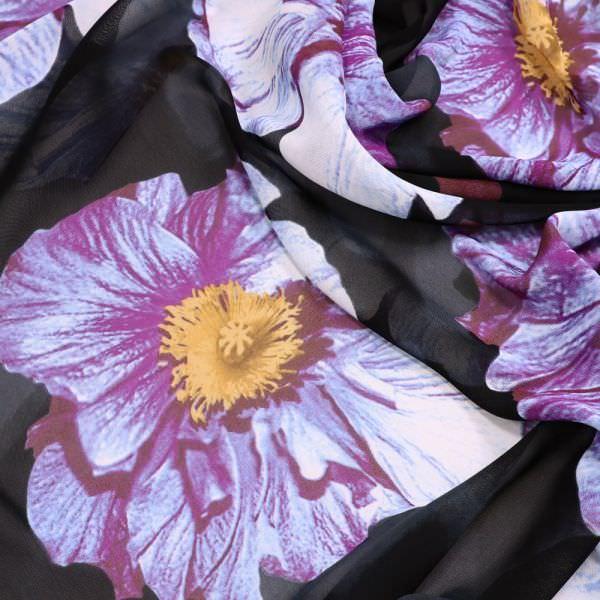 Viskose Chiffon grosse Blumen - schwarz/bordeaux/flieder/ocker/weiss