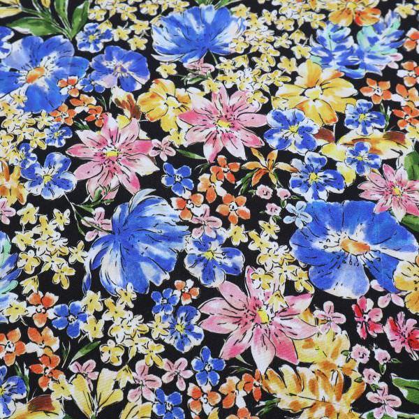 Viskose Crêpe Blumenwiese - schwarz/gelb/orange/rosé/blau