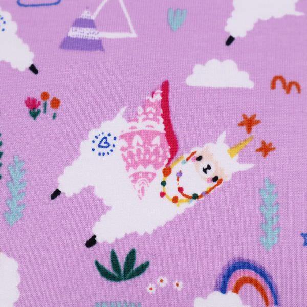 Sweatshirt Stoff mit Lama-Motiv - flieder/multicolor
