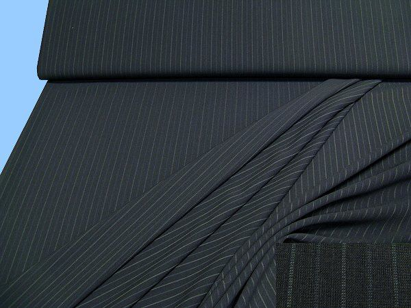 Hosen- und Kostümstoff mit Nadelstreifen - nachtblau/wollweiss