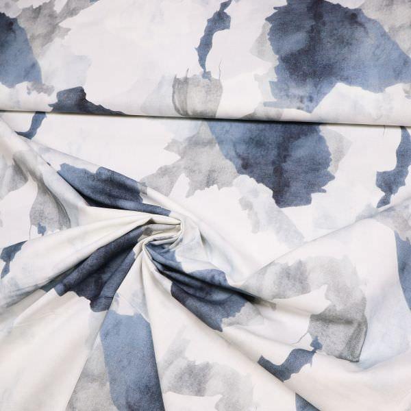 Baumwollstoff Marmoriert - wollweiss/grau/marineblau