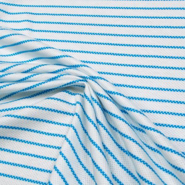 Piqué Jersey mit Querstreifen - weiss/türkis