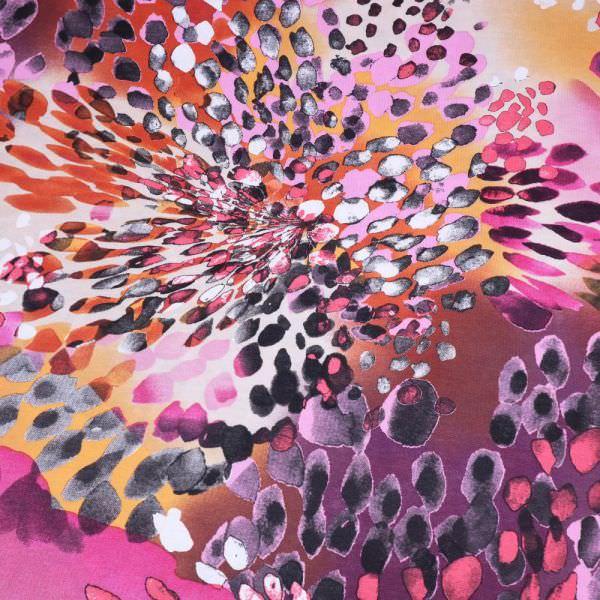 """Baumwoll-Modal Jersey """"Magic Flowers"""" - weiss/rosé/terrakotta/fuchsia/brombeere/schwarz"""