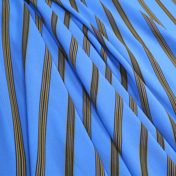 Crêpe Chiffon mit Streifen - blau/senfgelb/nachtblau (2.Wahl)