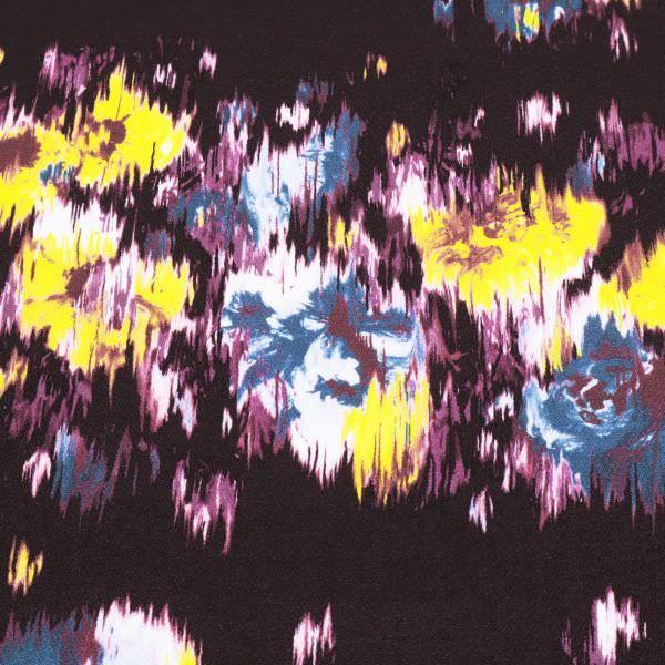 Crêpe Georgette Fantasie Blumen - aubergine/gelb/petrol/brombeere
